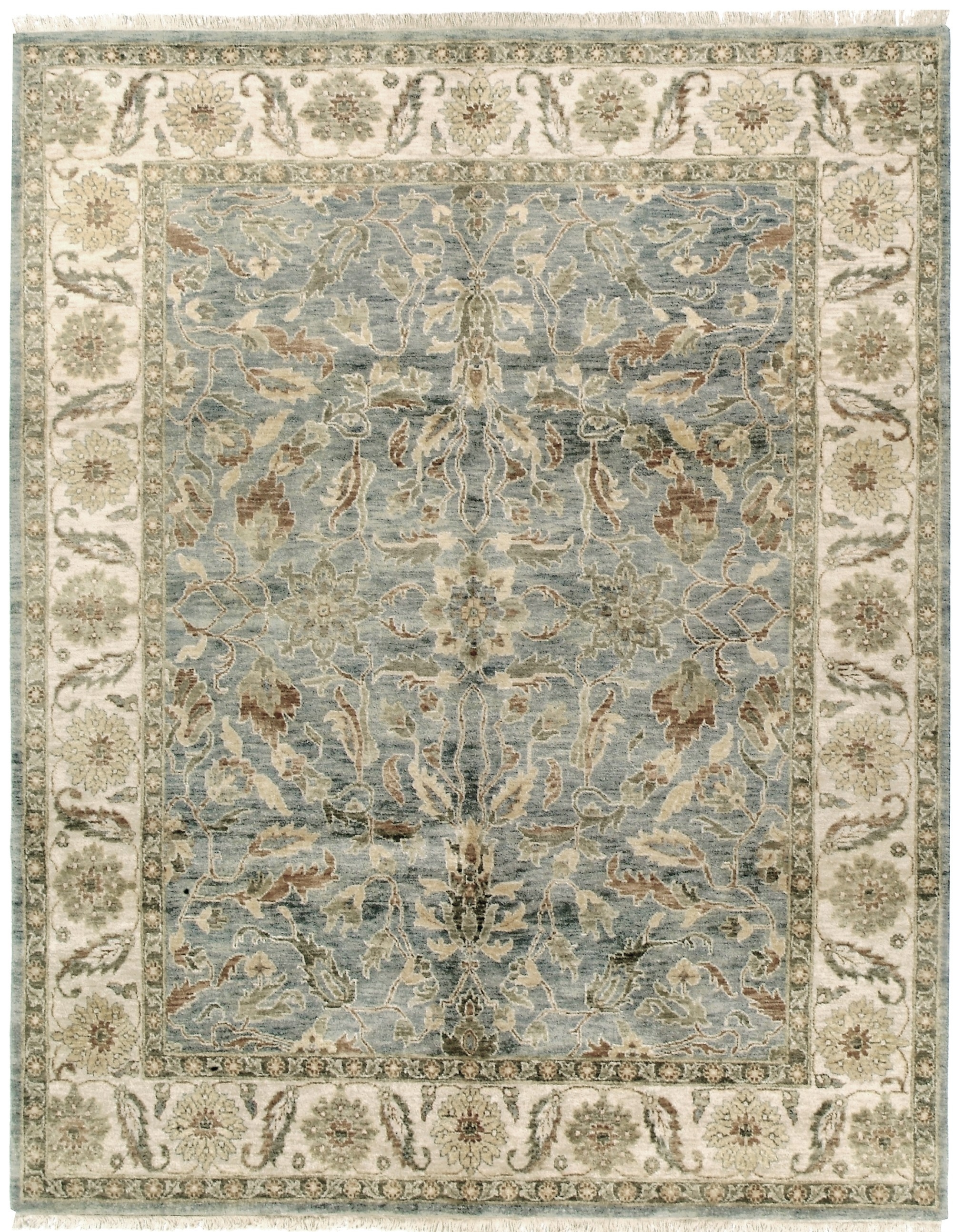 Gdpt Oushak Lt Bluecream Traditional The Rug Bazaar At With Regard To Light Blue And Cream Rugs (Image 5 of 15)