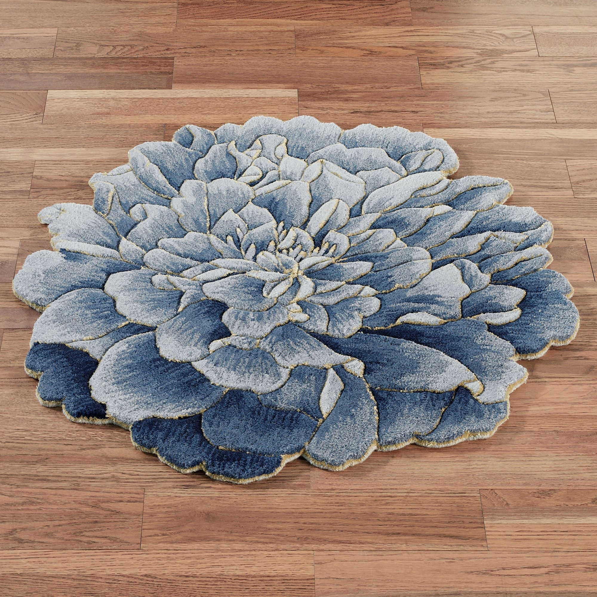 Geena Blue Flower Shaped Round Wool Rugs With Round Wool Rugs (Image 9 of 15)
