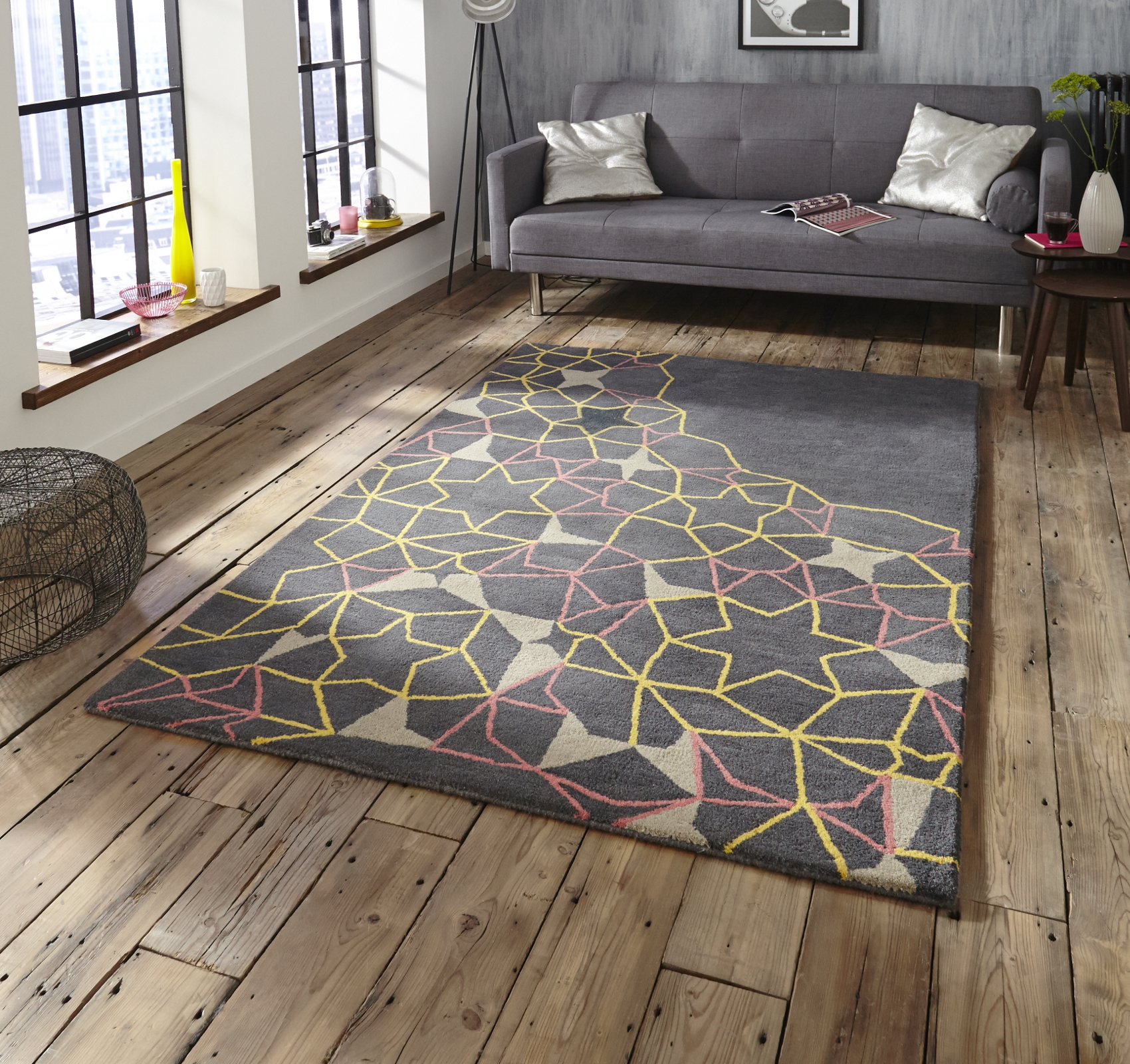 Geometric Yellow Rug Roselawnlutheran For Pink Pattern Rugs (Image 9 of 15)