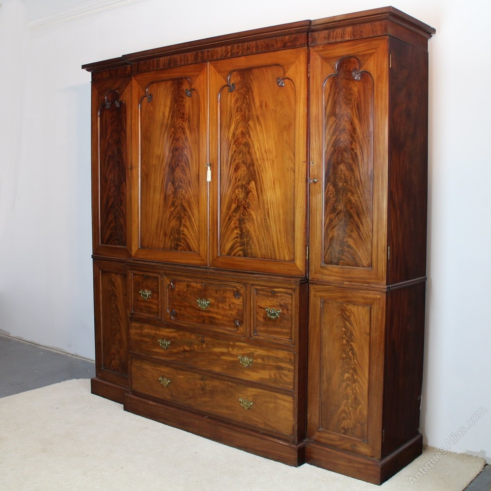 George Iii Mahogany Breakfront Secretaire Wardrobe Antiques Atlas Throughout Breakfront Wardrobe (Image 4 of 15)