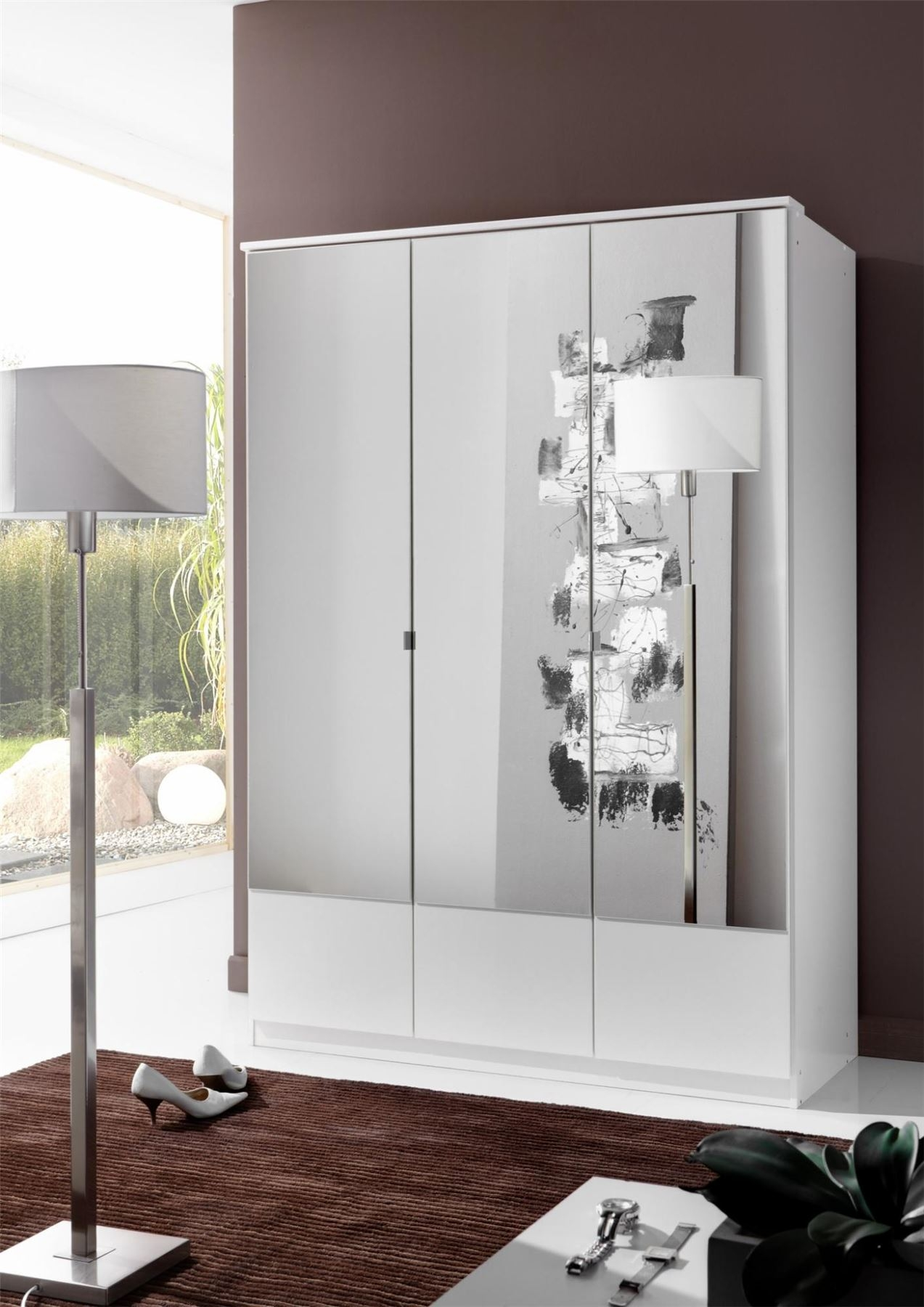 German Wimex Imago White 3 Door 135cm Wardrobe With Mirrors With Regard To 3 Door White Wardrobes (Image 8 of 25)