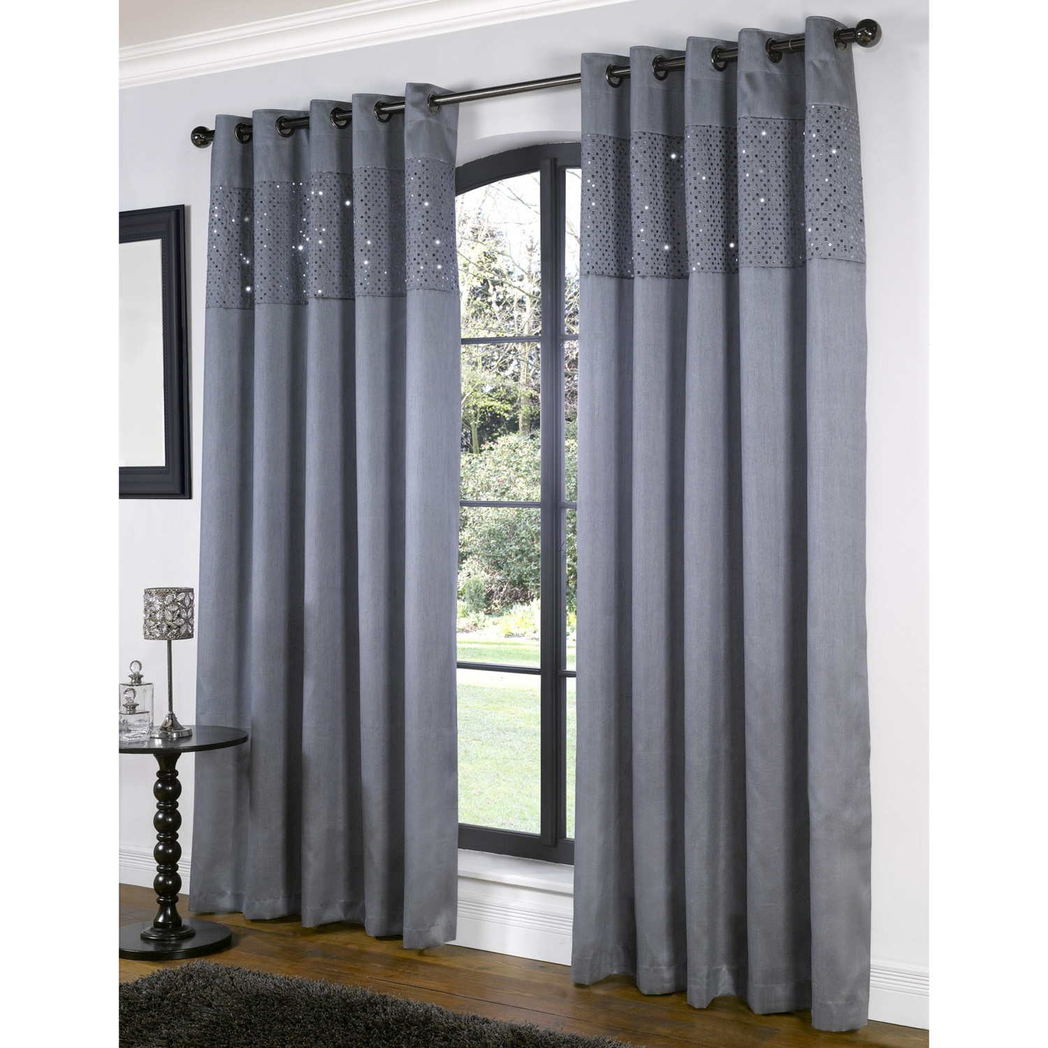 Glamour Lined Eyelet Curtains For Grey Eyelet Curtains (Image 10 of 25)