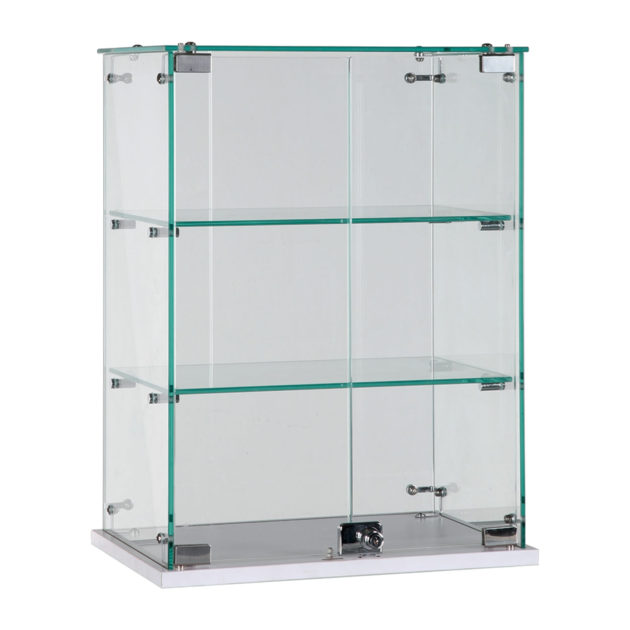 Glass Counter Top Showcase With 2 Shelves Lockable Door 450 W X Throughout Glass Shelf Fittings (Image 5 of 15)