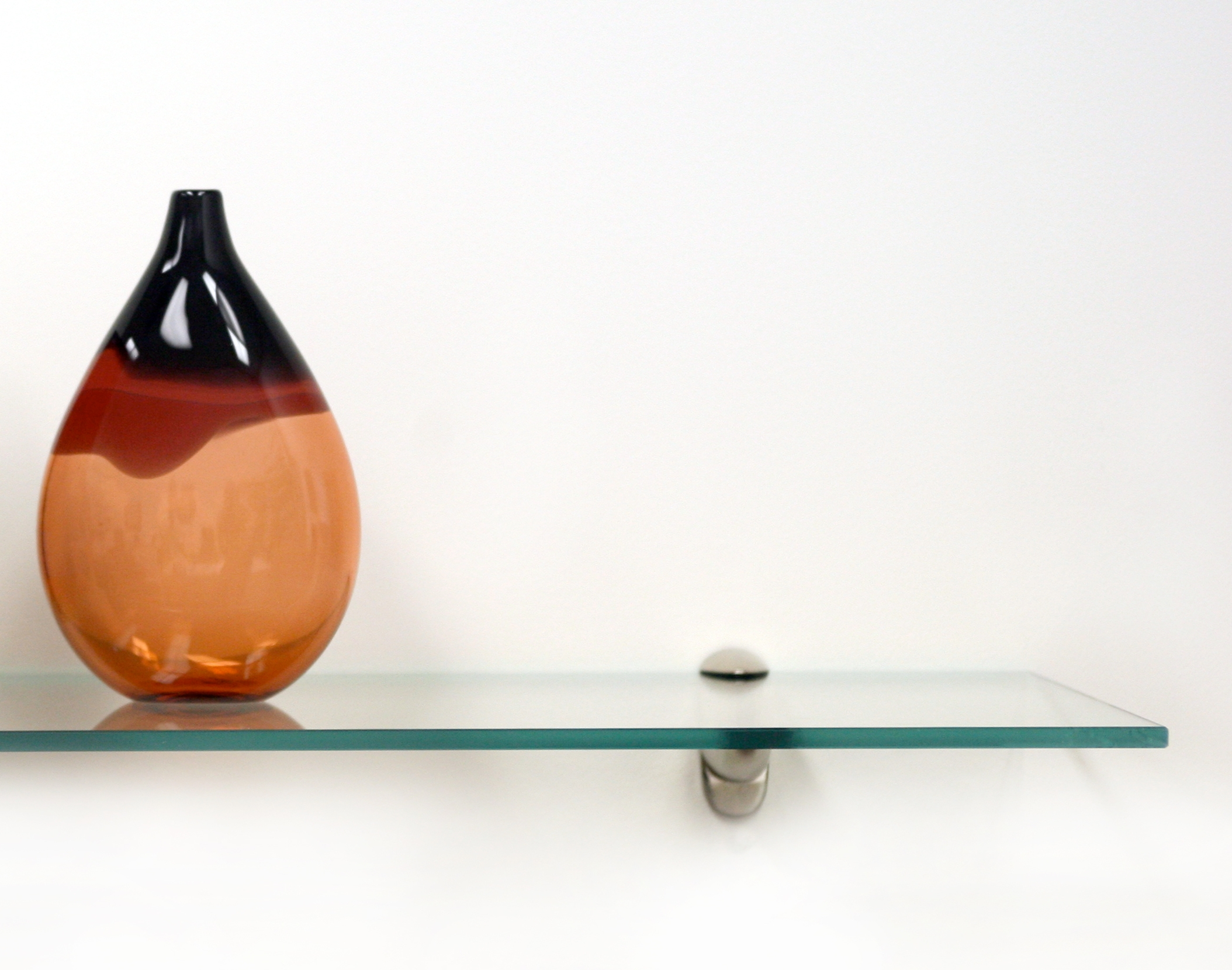 Glass Shelf On White Wall Stock Photo Picture And Royalty Free For Throughout Free Floating Glass Shelves (View 8 of 15)