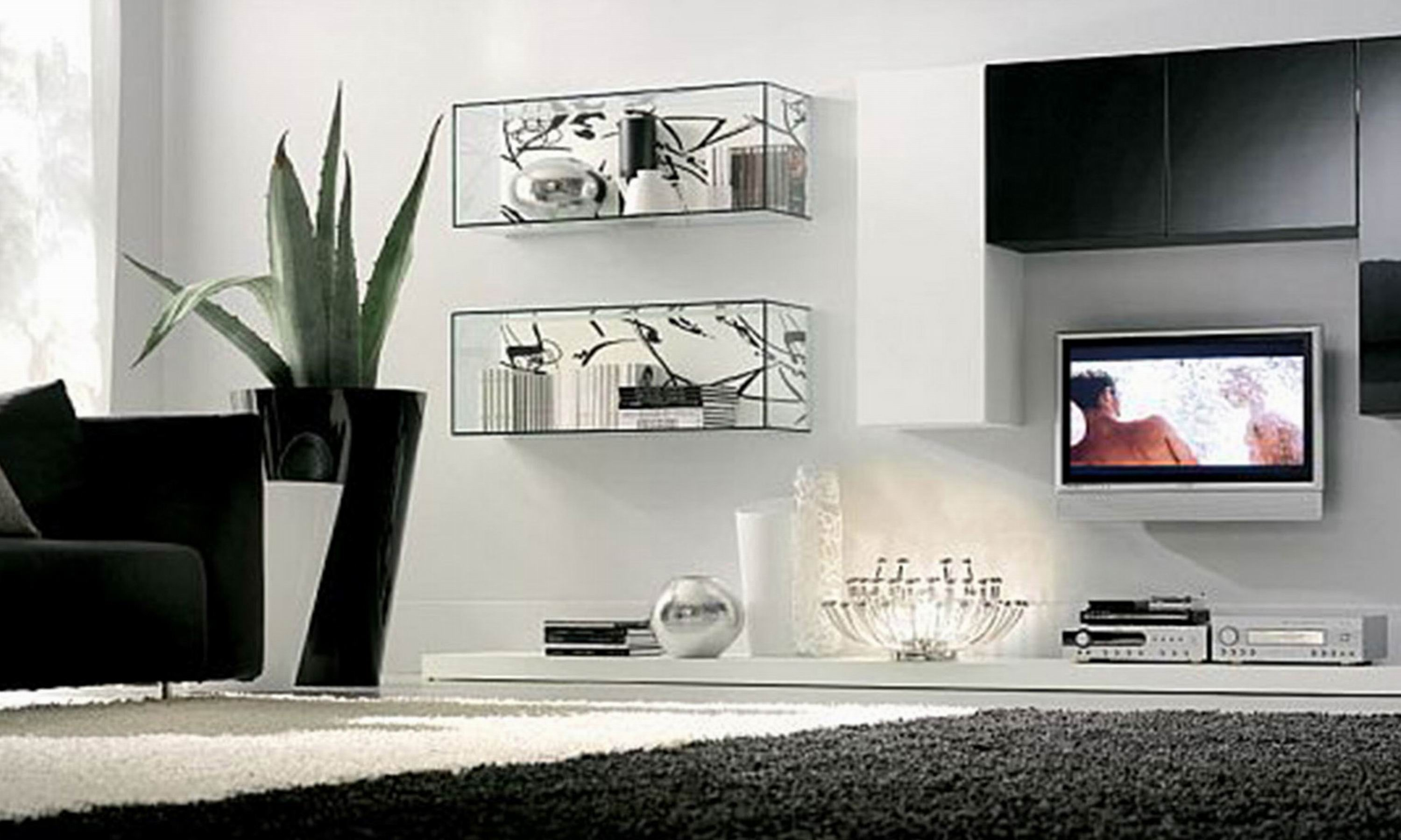 Marvelous Glass Shelf Unit Living Room Intended For Glass Shelves In Living Room  (Image 9 Of