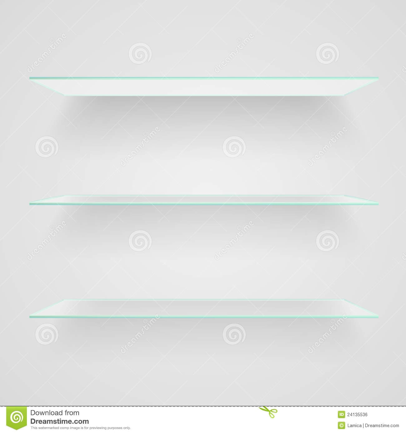 Glass Shelves Royalty Free Stock Image Image 24135536 Throughout Glass Shelves (Image 5 of 15)