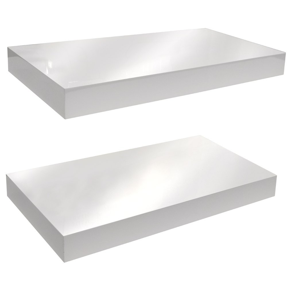 Gloss Wall Mounted 40cm Floating Shelf Pack Of Two Black In 40cm Floating Shelf (View 8 of 15)