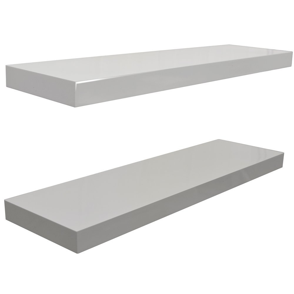 Gloss Wall Mounted 40cm Floating Shelf Pack Of Two White For 40cm Floating Shelf (Image 7 of 15)