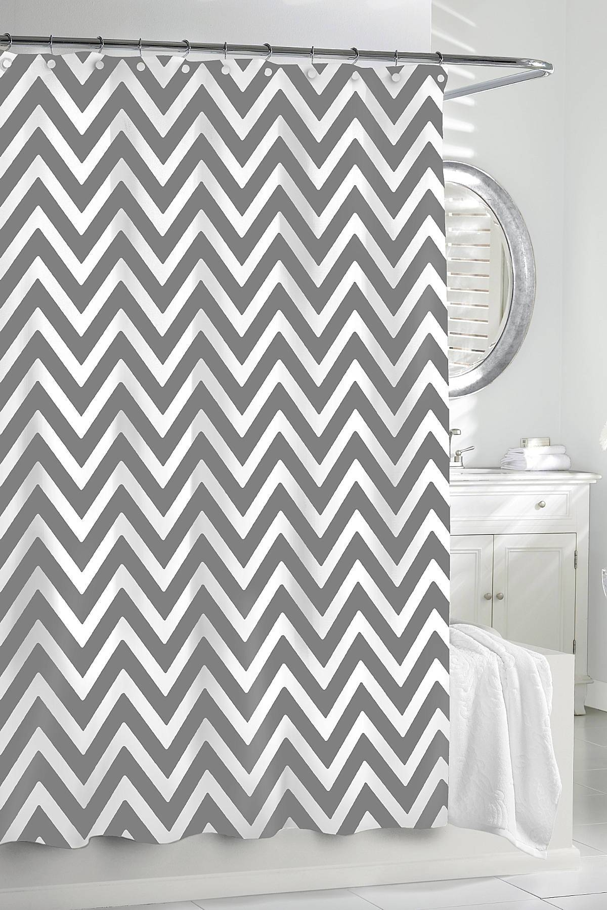 Gracious Home Shower Curtain With Regard To Gray Chevron Shower Curtains (View 6 of 25)