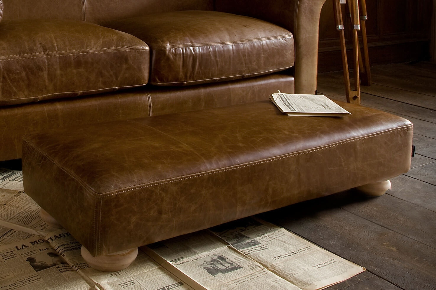 Grandad Leather Footstool Handcrafted Indigo Furniture With Leather Footstools (Image 7 of 15)