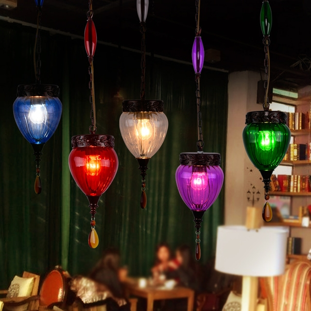 Great Brand New Coloured Glass Pendant Lights Pertaining To Aliexpress Buy Loft Vintage Glass Edison Pendant Lamp Retro (Image 10 of 25)