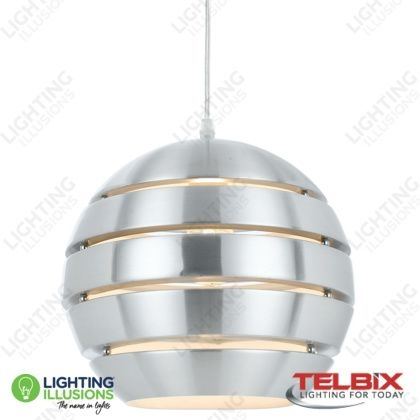 Great Brand New Eva Pendant Lights For Small Telbix Eva Brushed Aluminium Sphere Pendant Modern (Image 13 of 25)