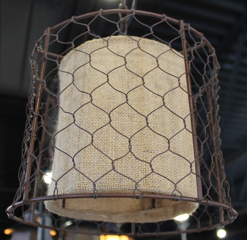 Great Common Chicken Wire Pendant Lights In Primitive Chicken Wire Burlap Drum Swag Lamp Lamp Shade Pro (Image 12 of 25)