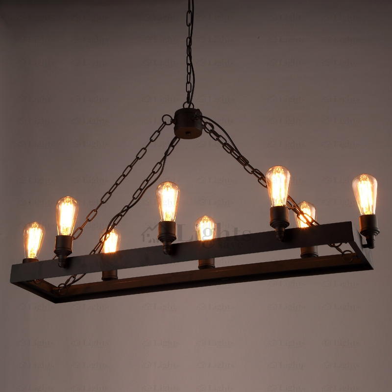 Great Common Wrought Iron Lights With Regard To 8 Light Wrought Iron Industrial Style Lighting Fixtures (Image 10 of 25)