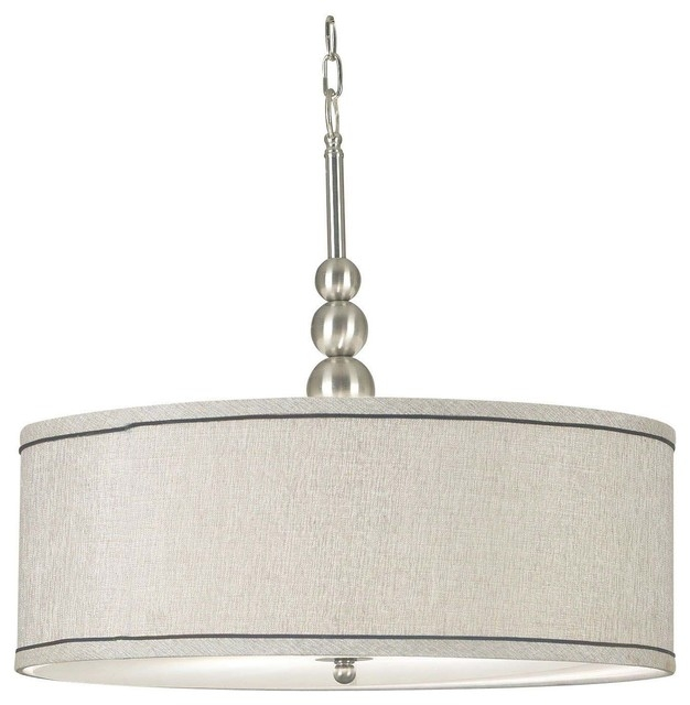 Great Elite Brushed Stainless Steel Pendant Lights Pertaining To Margot 3 Light Pendant Brushed Steel Transitional Pendant (Image 14 of 25)