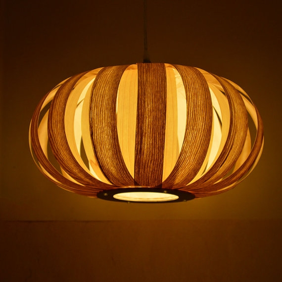 Great Elite Wood Veneer Pendant Lights For Free Shipping Wood Pendant Lamplooks Like A Pumpkinmade From (View 13 of 25)