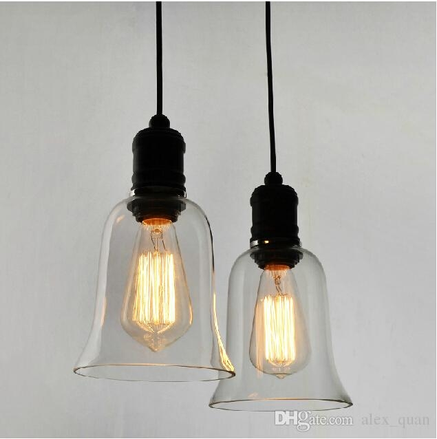 Great Fashionable Pendant Light Edison Bulb Inside Modern Crystal Bell Glass Pendant Lights Industrial Style Pendant (Image 16 of 25)
