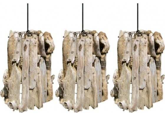Great Favorite Beachy Pendant Lighting Throughout Set Of Three Driftwood Pendants Beach Style Pendant Lighting (Image 10 of 25)
