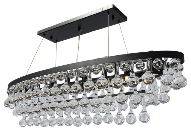 Great Favorite Glass 8 Light Pendants Inside Celeste 8 Light Oval Glass Drop Chandelier Black Contemporary (Image 13 of 25)