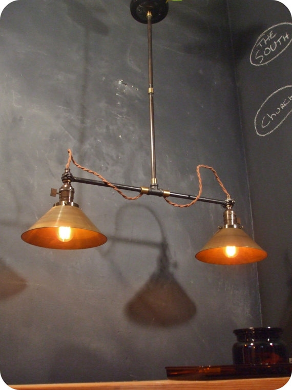 Great High Quality Double Pendant Lights Throughout Vintage Industrial Double Shade Ceiling Sconce Machine Age (Image 10 of 25)