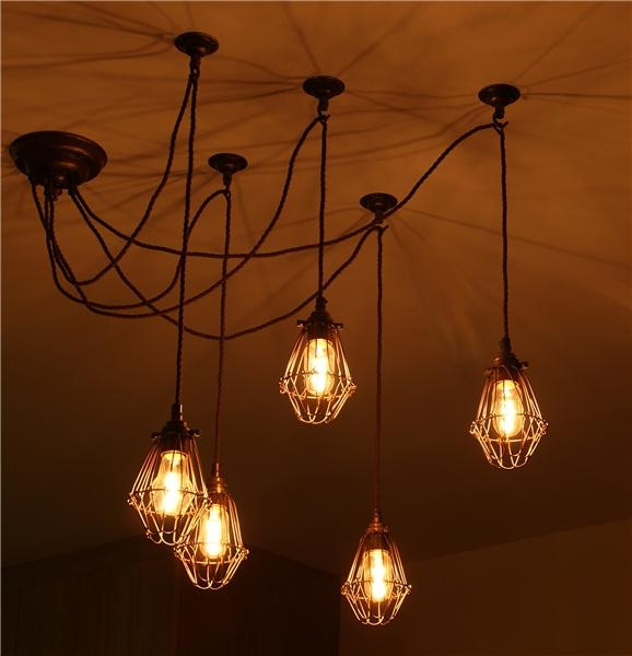 Great High Quality Quirky Pendant Lights In Jailhouse Cage Cluster Pendant Island Lighting Minimalist (Image 11 of 25)