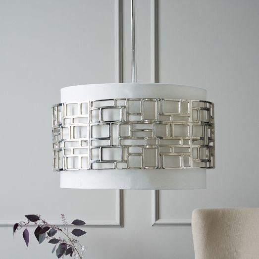 Great High Quality West Elm Drum Lights Within Capuchinas Round Geometric Encaged Nickel Chandelier (Image 16 of 25)