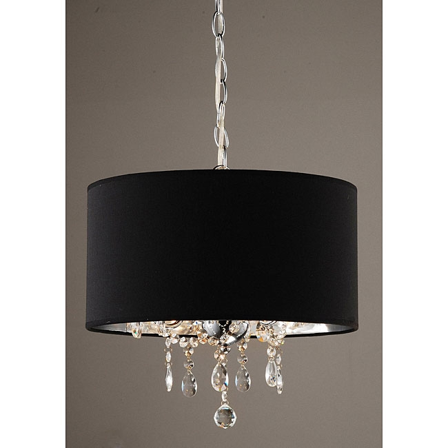 Great New Black Pendant Light With Crystals Throughout Indoor 3 Light Black Chrome Pendant Chandelier More Pendant (View 9 of 25)