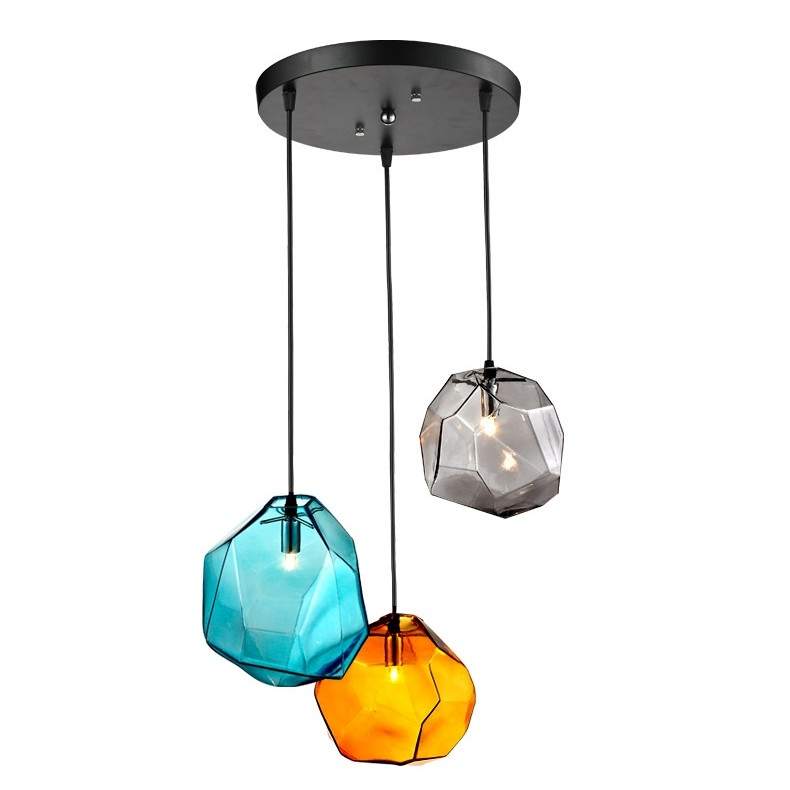 Great New Coloured Glass Pendant Lights With Regard To Stone 3 Light Coloured Glass Pendant Lighting Fixture (Image 11 of 25)