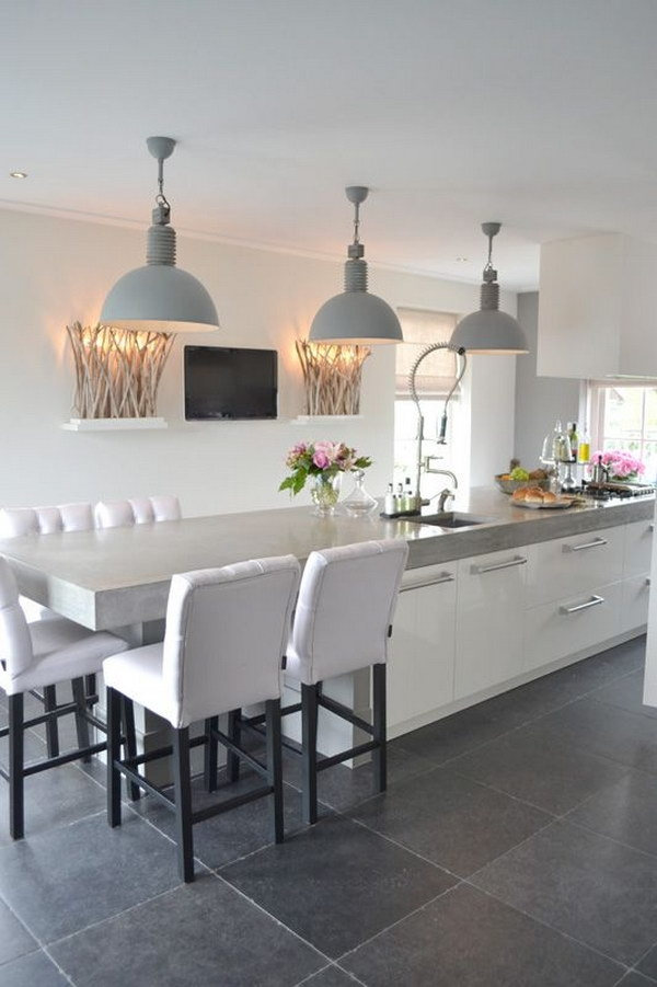 Great New Stainless Steel Pendant Lights For Kitchen Intended For 30 Awesome Kitchen Lighting Ideas  (Image 15 of 25)