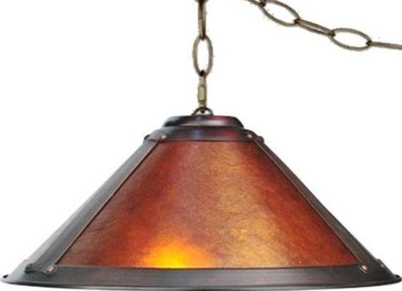 Great Popular Arts And Crafts Pendant Lighting With Regard To Amber Mica Swag Lamp Pendant Light 17 Wide 2 Lights Dirk Van Erp (View 25 of 25)