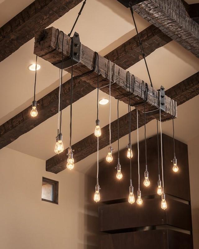 Great Popular Reclaimed Pendant Lighting Throughout Reclaimed Wood Beams Best Diy Diy Wood Beams And Pendant Lighting (Image 15 of 25)