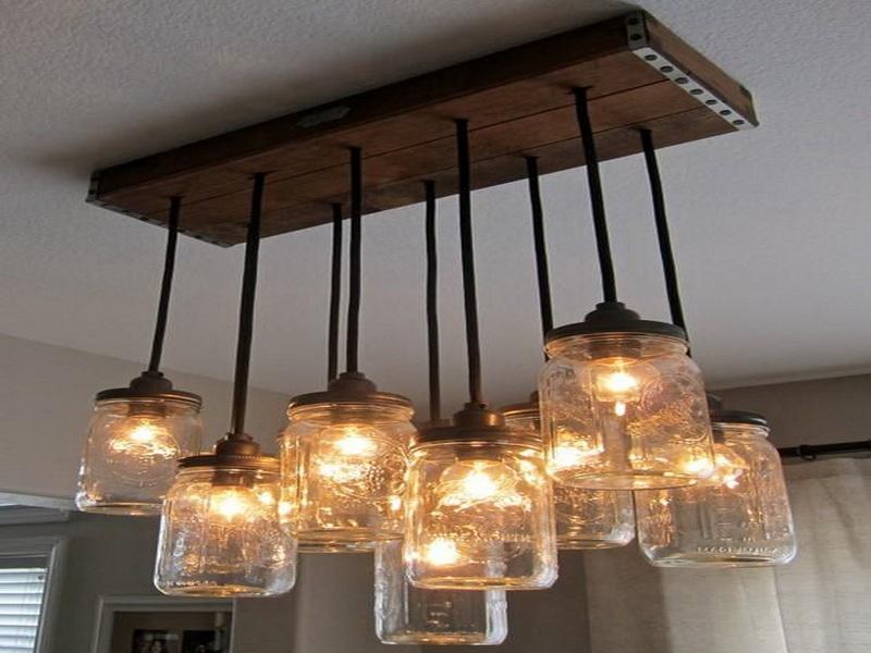 Great Premium Mason Jar Pendant Lamps Throughout Light Fixtures Mason Jar Light Fixtures Ideas Sample Detail (Image 9 of 25)