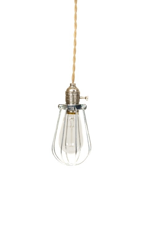 Great Series Of Bare Bulb Pendant Light Fixtures Within Vintage Industrial Caged Silver Minimalist Bare Bulb Pendant (Image 13 of 25)