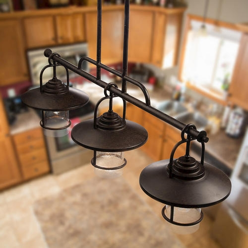 Great Series Of Patriot Pendant Lighting With Patriot Lighting Elegant Home 3 Light Miner Bronze Island Light (Image 16 of 25)