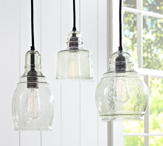Great Series Of Paxton Glass 3Light Pendants Pertaining To Paxton Glass Single Pendants Pottery Barn Yep 3 Lights Similar (Image 10 of 25)