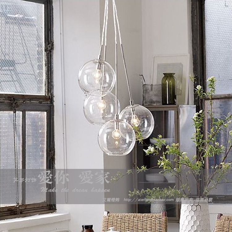 Great Top Cluster Glass Pendant Light Fixtures Within American Cluster Glass Pendant Transparent Round Ball Glass (Image 11 of 25)