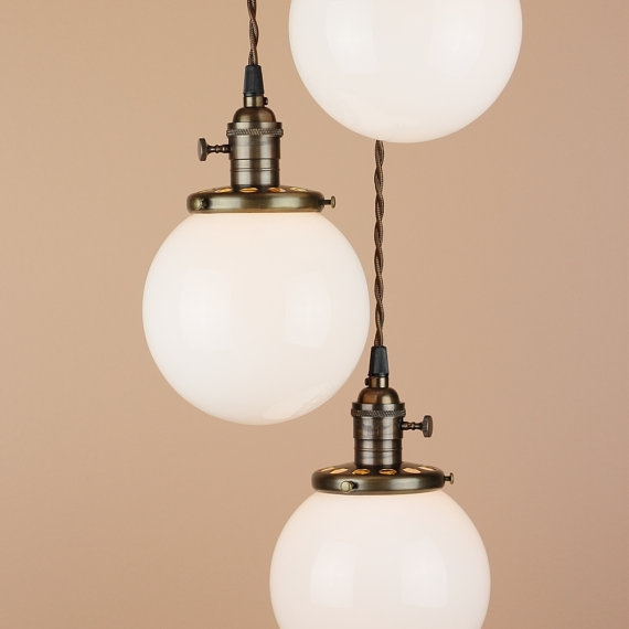 Great Top Milk Glass Light Fixtures Inside Chandelier Lighting Cascading Pendant Lights 6 White (Image 12 of 25)
