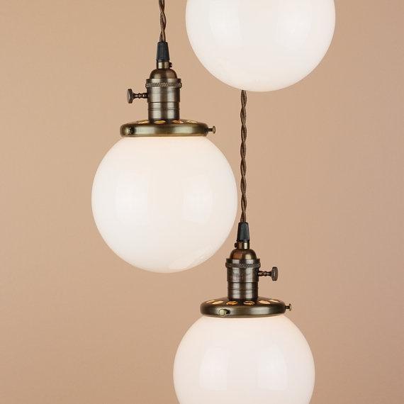 Great Top Milk Glass Light Fixtures Inside Chandelier Lighting Cascading Pendant Lights 6 White (View 10 of 25)