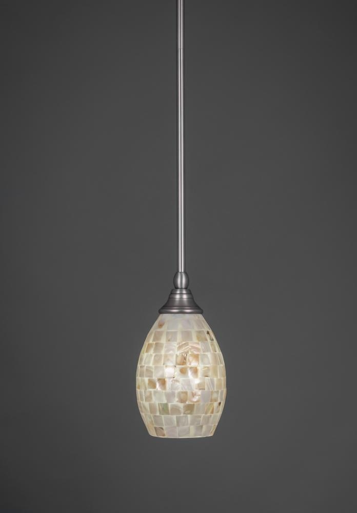 Great Top Pendant Lighting Brushed Nickel For One Light Brushed Nickel Seashell Glass Down Mini Pendant 23 Bn (Image 13 of 25)