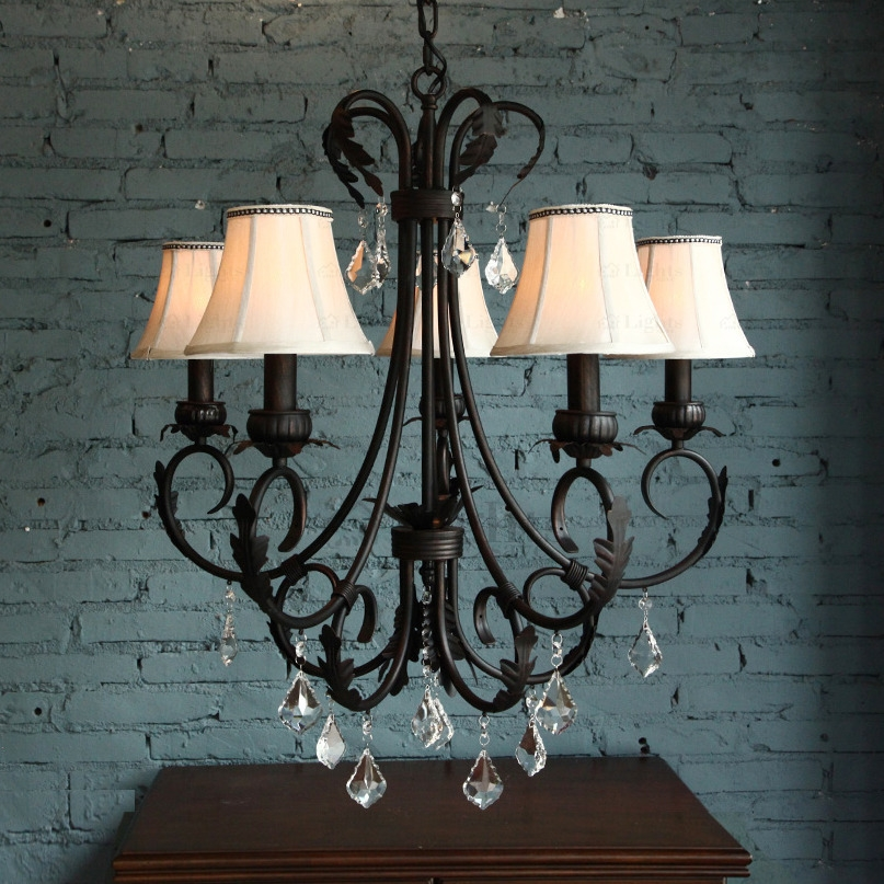 Great Top Wrought Iron Lights Regarding Pastoral 5 Light Wrought Iron Vintage Crystal Chandelier (Image 12 of 25)