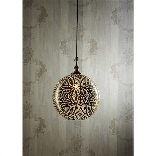 Great Trendy Moroccan Punched Metal Pendant Lights Intended For Moroccan Perforated Metal Ball Pendant Light Small Pendants (View 15 of 25)