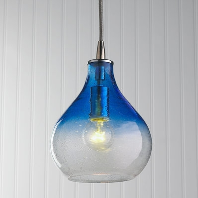 Great Unique Cobalt Blue Mini Pendant Lights In Strata Art Glass Pendant Light Glass Pendants Seeded And Pendants (Image 12 of 25)