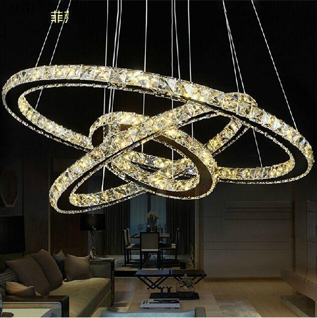 Great Variety Of Modern Pendant Chandelier Lighting Regarding 3 Circles 403020cm Led Round Crystal Chandelier Light Modern (Image 12 of 25)