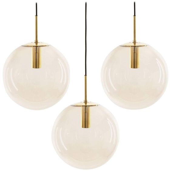 Great Wellknown 1960s Pendant Lights Inside Limburg Pendant Lights Brass And Brown Glass Globes 1960s (Image 13 of 25)