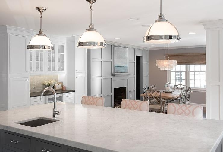 Great Well Known Clemson Pendant Lights With Gray Kitchen Island With Pink Trellis Counter Stools (Image 8 of 25)