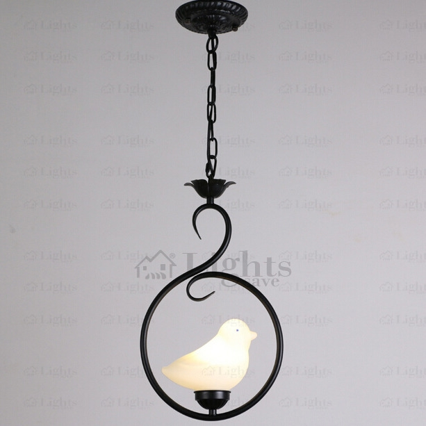 Great Wellknown Wrought Iron Pendant Lights With Regard To Ceramic Bird Shade Black Wrought Iron Pendant Lights (Image 10 of 25)