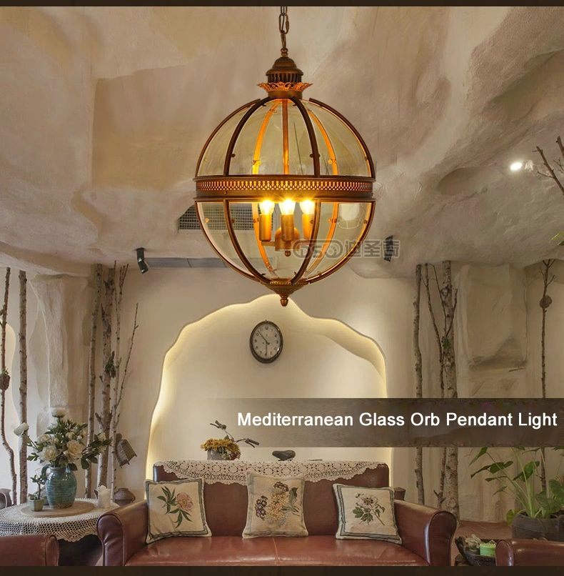 Great Wellliked Glass Orb Pendant Lights Regarding Aliexpress Buy Dsqmediterranean American Rural Glass Orb (Image 7 of 25)