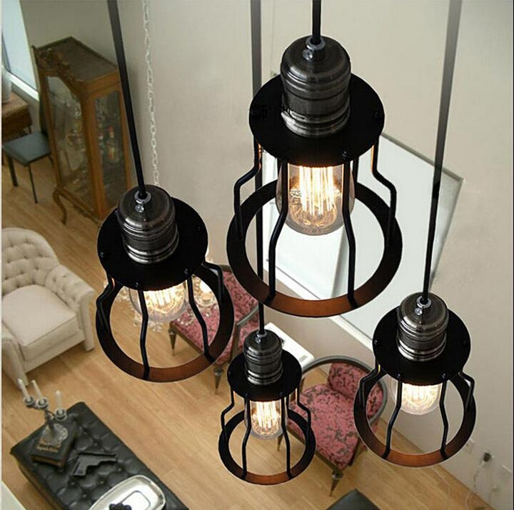Great Wellliked Wrought Iron Pendant Lights With Regard To Loft Vintage Wrought Iron Pendant Lights American Industrial Style (Image 11 of 25)