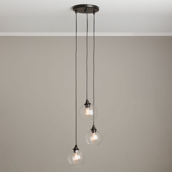 Great Widely Used 3 Light Pendants With Uptown 3 Light Clear Globe Cluster Pendant Globe (Image 13 of 25)