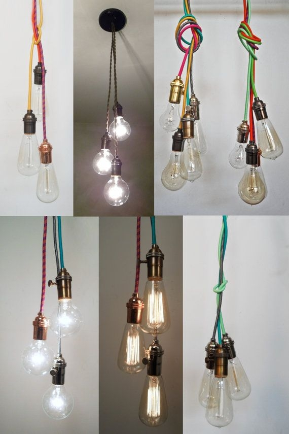 Great Widely Used Three Light Bare Bulb Pendants In Best 25 Plug In Chandelier Ideas On Pinterest Plug In Wall (Image 11 of 25)